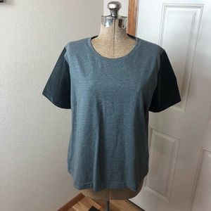 J Crew Gray T-shirt Faux Leather Sleeves Top